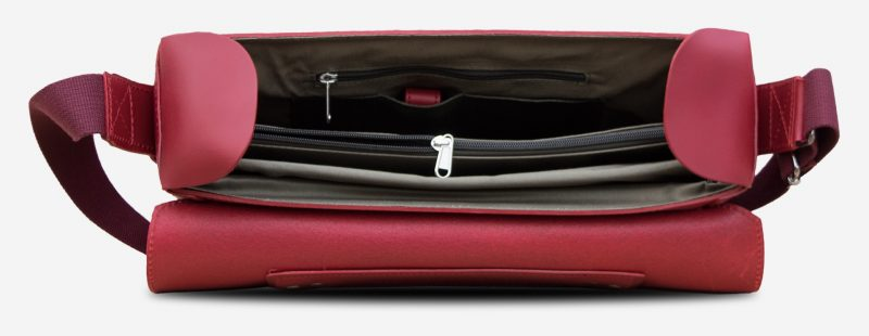 Inside view of the elegant red vegetable-tanned leather briefcase bag for women.