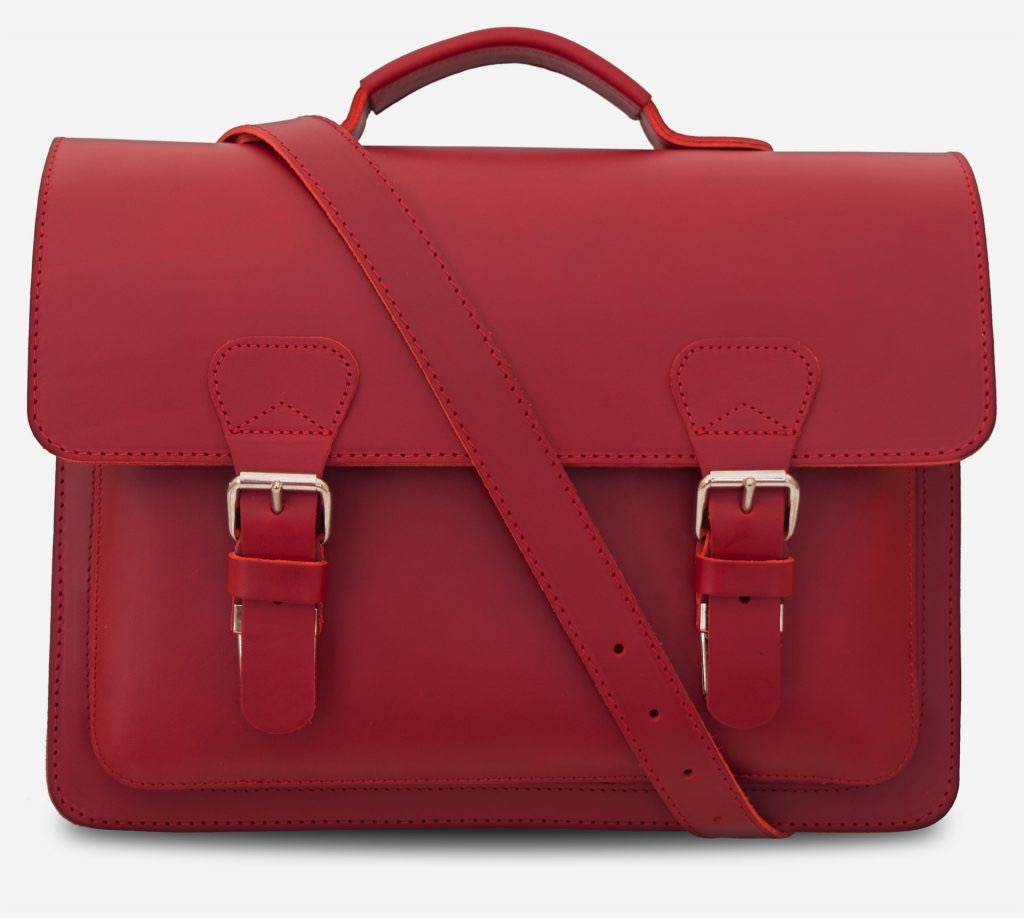 Front view of red leather briefcase bag with 1 compartment for women - 152103.