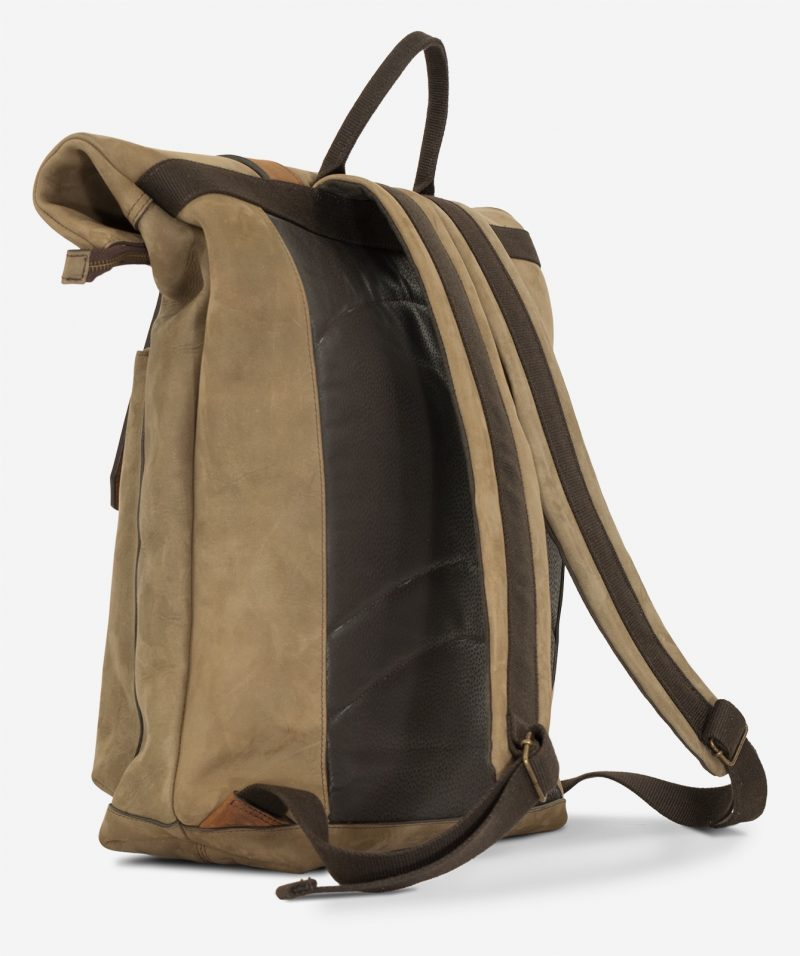 Back view of the roll-top soft leather backpack.