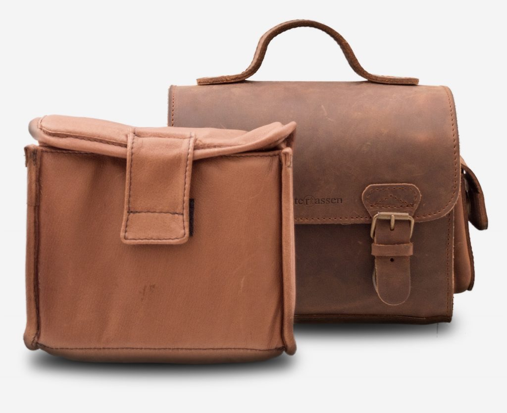 Handmade brown leather camera bag with removable insert 733104.