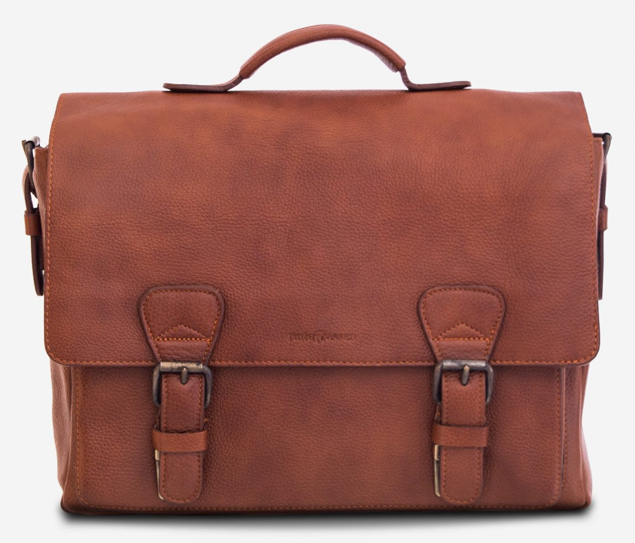 """Front view of the 13"""" soft leather satchel briefcase."""