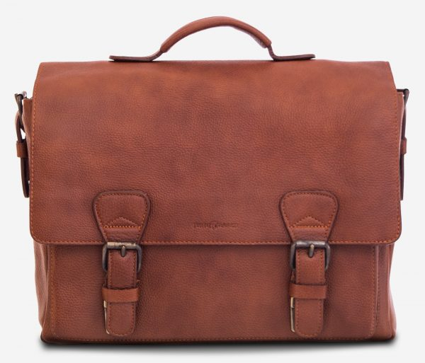 "Front view of the 13"" soft leather satchel briefcase."