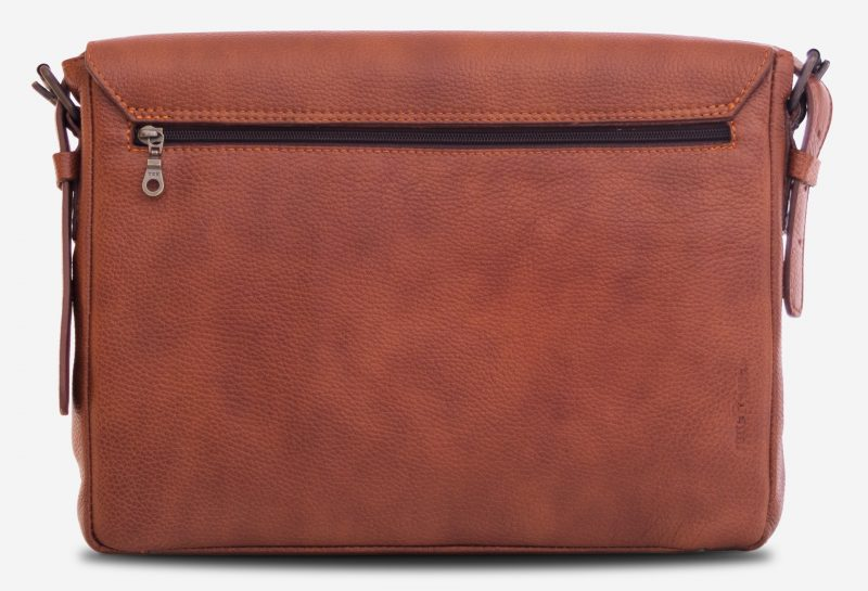 """Back view of the 13"""" soft leather messenger bag with back pocket."""
