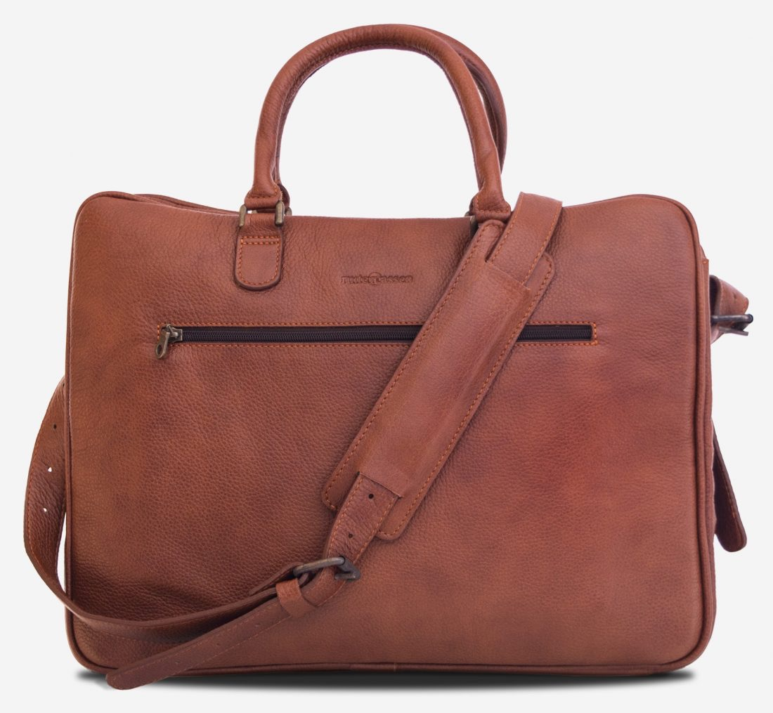 """Front view of the 17"""" brown soft leather travel bag."""