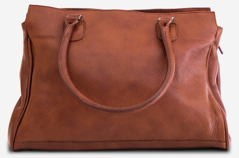 Back view of the woman soft leather handbag for student.
