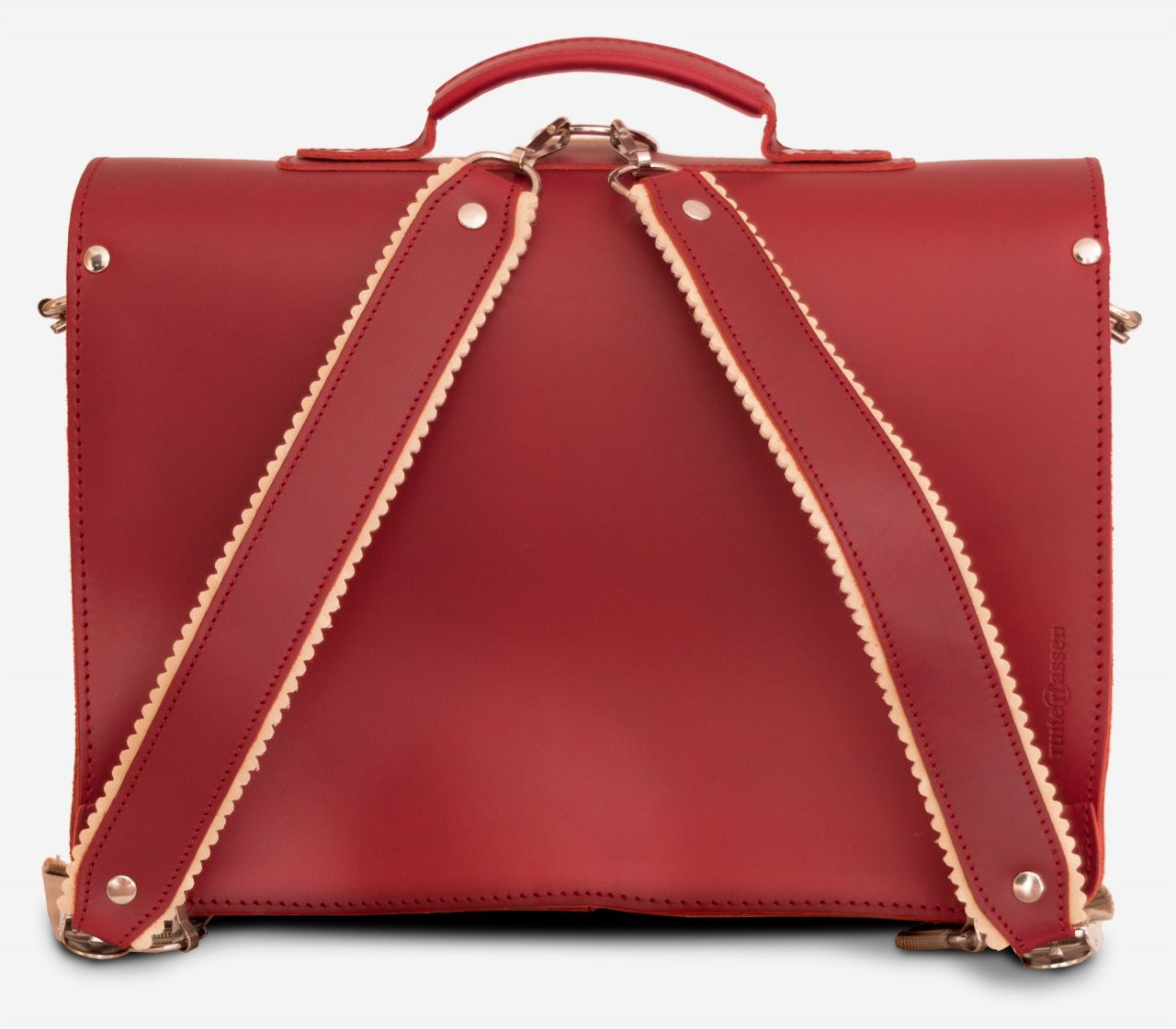 Back view of red leather satchel backpack with 2 gussets and symmetric front pockets for women - 152233.