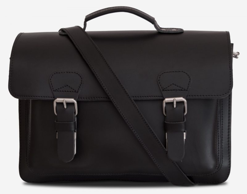 Front view of black leather student satchel with 2 gussets and large front pocket 112140.
