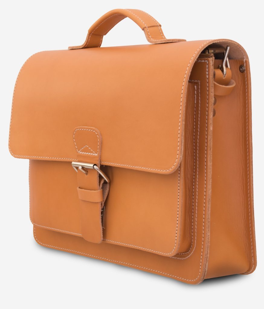 Side view of the tan leather briefcase with a single compartment.