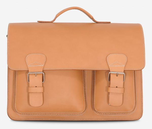 Front view of large tan leather Ruitertassen satchel with laptop pocket.