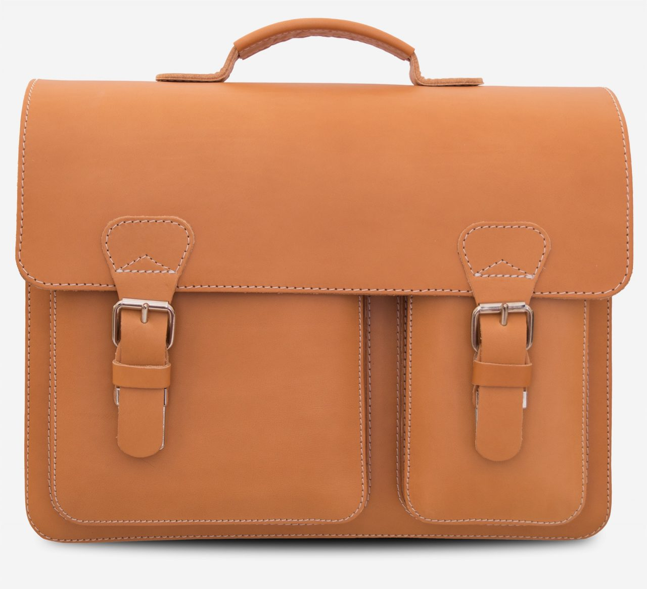 Front view of the tan leather satchel briefcase with asymmetric front pockets.