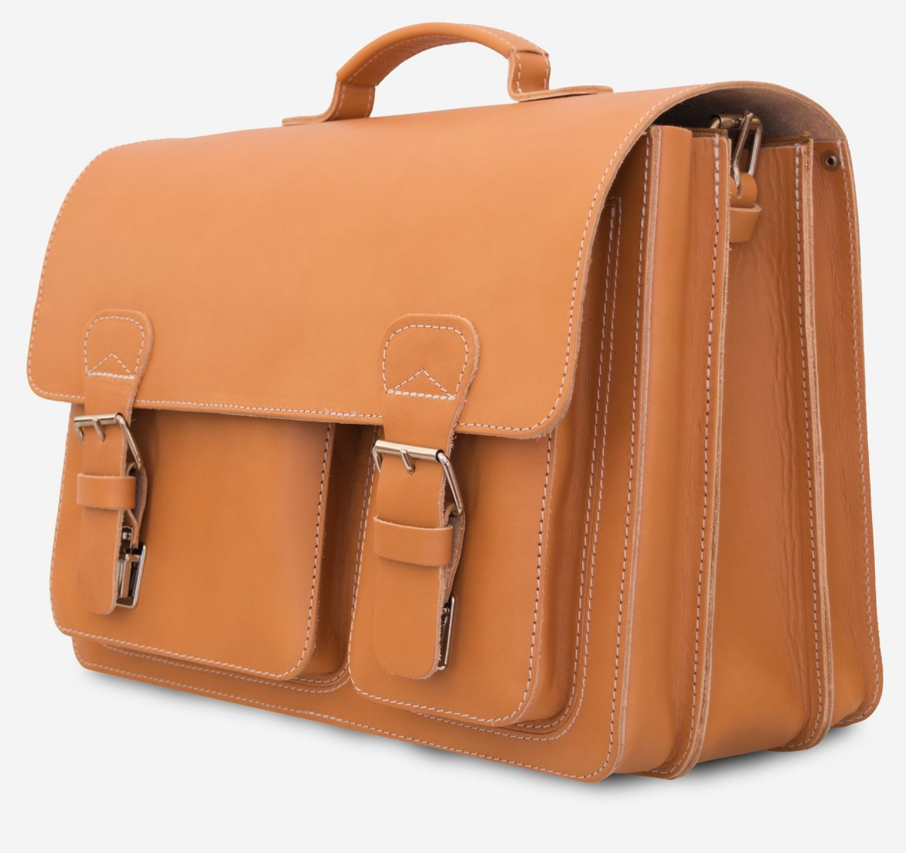Large tan leather satchel briefcase with 3 compartments and 2 asymmetric front pockets.