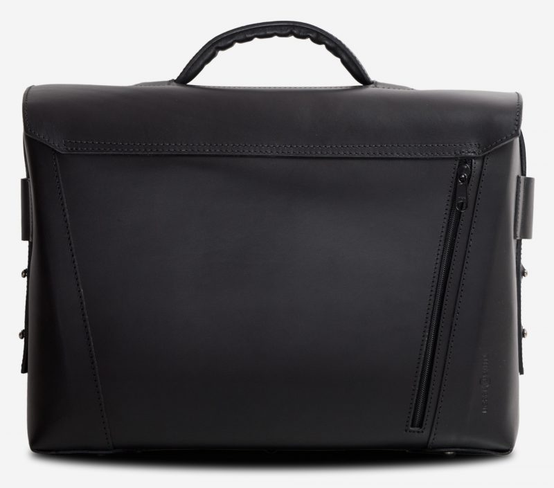 Back view of the large black vegetable-tanned leather briefcase bag with back pocket.