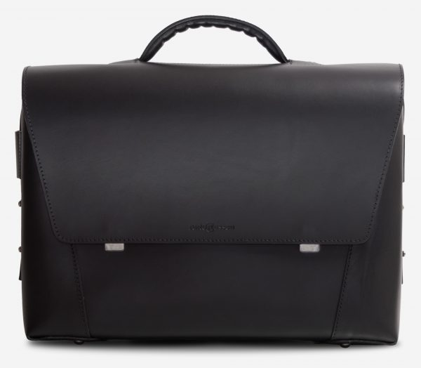 Front view of the large black vegetable-tanned leather briefcase bag with laptop pocket.