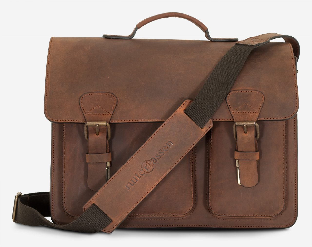 Front view of brown leather satchel briefcase with asymmetric front pockets and shoulder strap.