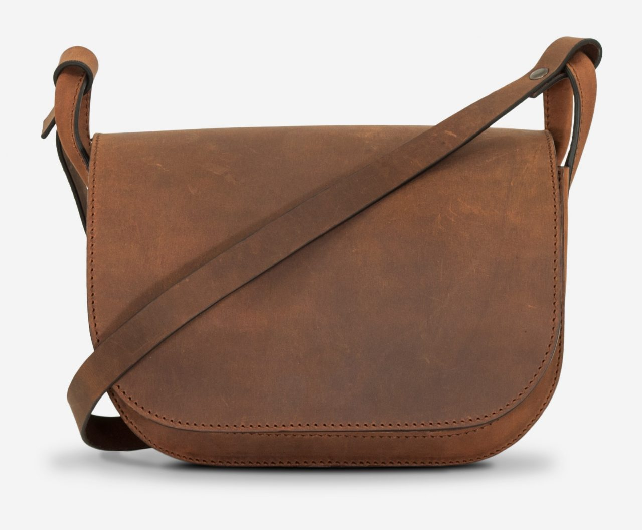 Front view of the handmade brown leather shoulder bag for women.