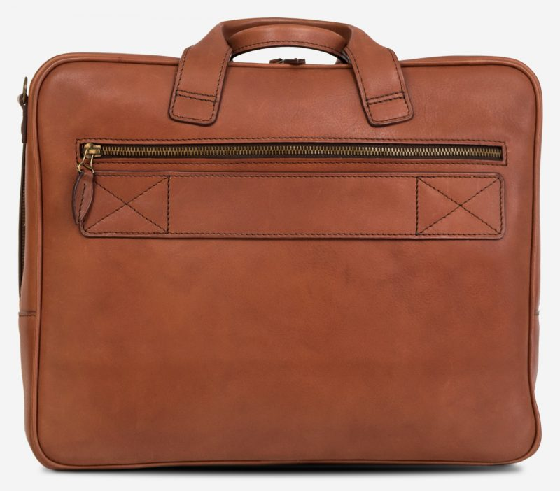 Back view of the luxury brown vegetable-tanned leather briefcase for men.