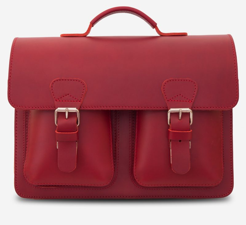 Front view of red leather briefcase bag with 1 compartment for women - 152131.