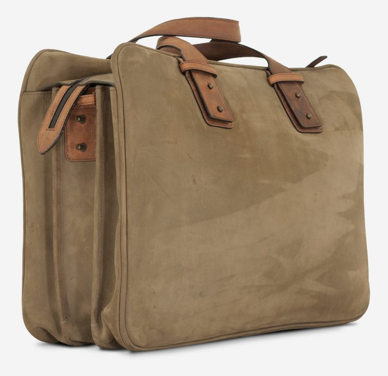 "Back side view of the 17"" soft leather cabin weekend bag for men."