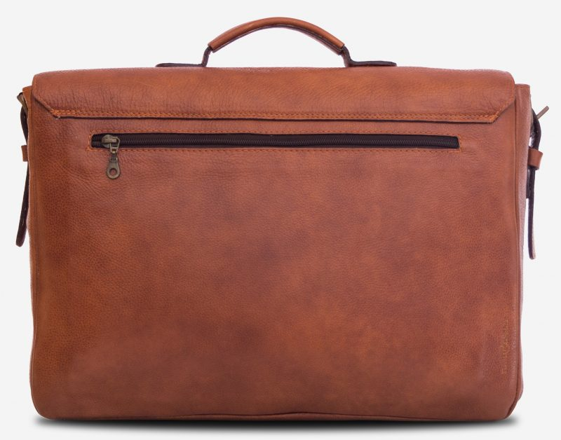 """Back of the 15"""" soft brown leather satchel briefcase with back pocket."""