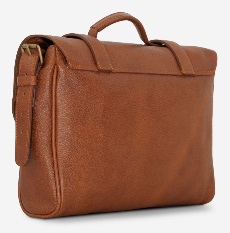 Back view of the soft brown leather briefcase bag.