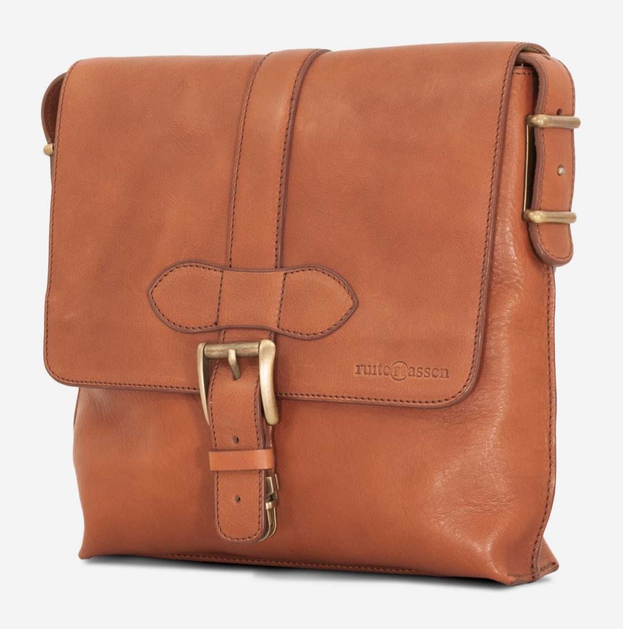Side view of the luxury soft vegetable-tanned brown leather crossbody bag for men.