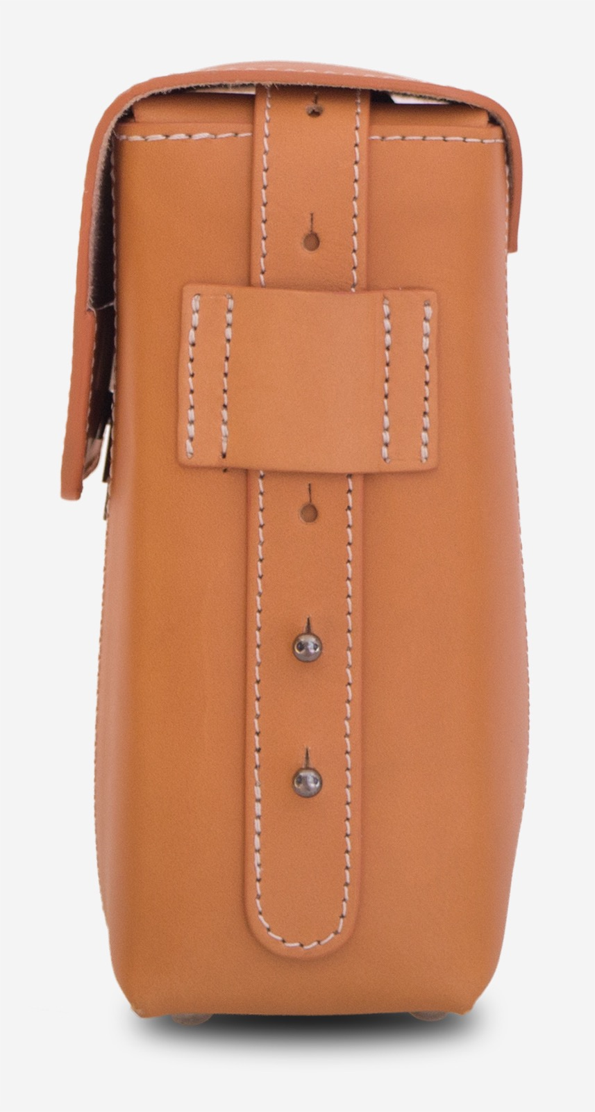 Side view of the small vegetable tanned leather crossbody bag.