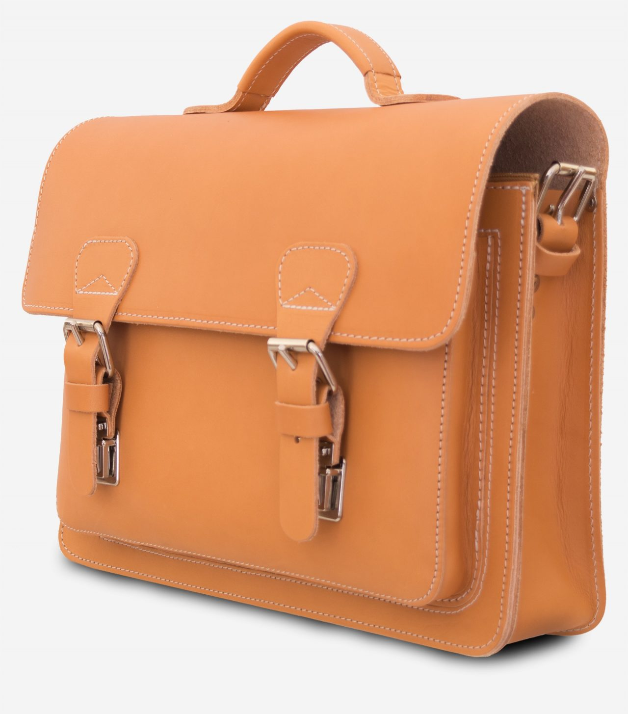 Front view of the tan leather briefcase with one compartment and one front pocket.