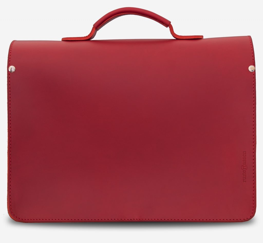 Back view of red leather briefcase bag with 1 compartment for women - 152131.