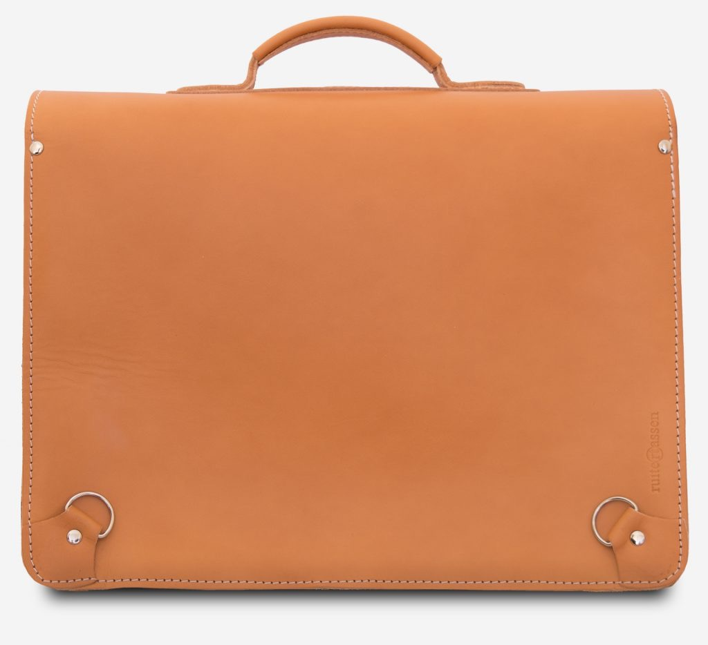Back view of tan leather satchel backpack for adults with hooks for back straps.