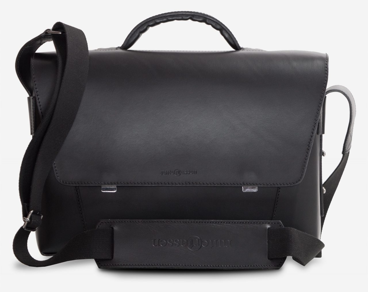 Front view of the black vegetable-tanned leather briefcase bag with laptop pocket.