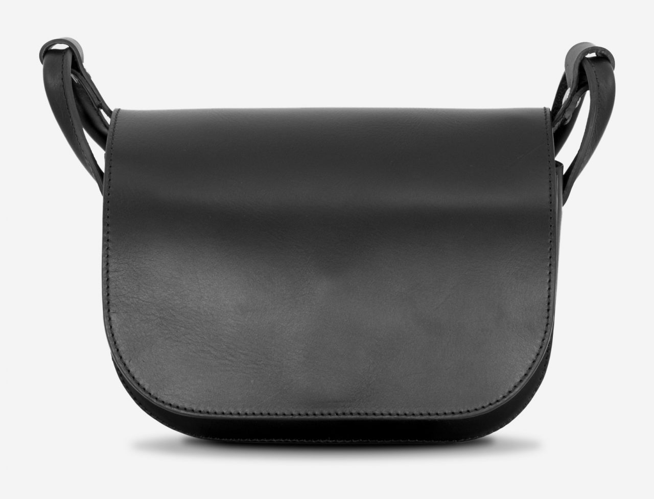 Front view of the 2 compartments black leather shoulder bag for women.