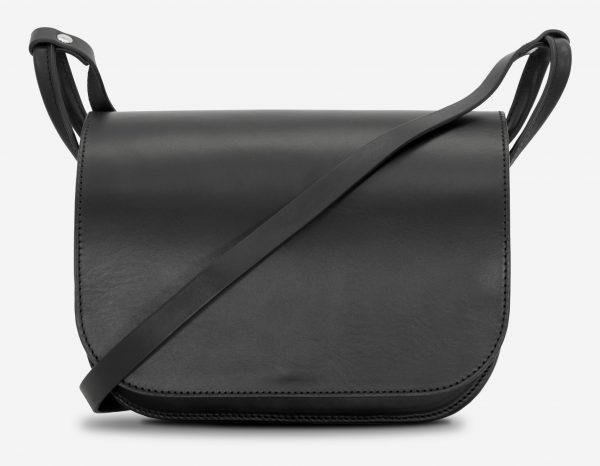 Front view of the large black leather shoulder bag for women.