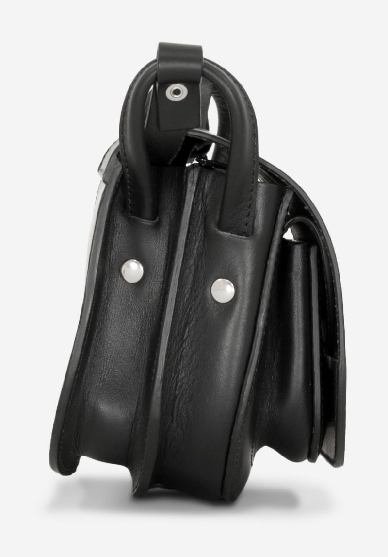 Side view of the 2 compartments black leather shoulder bag for women.