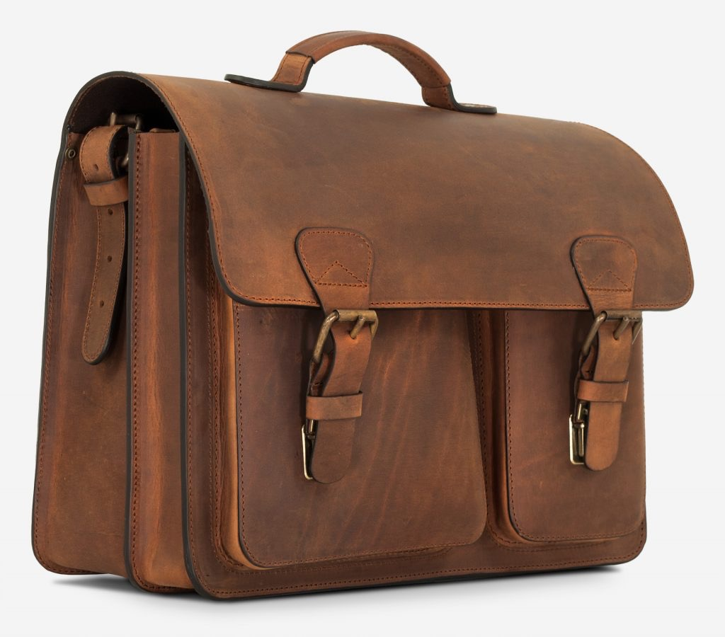 Front view of brown leather satchel briefcase with laptop pocket.