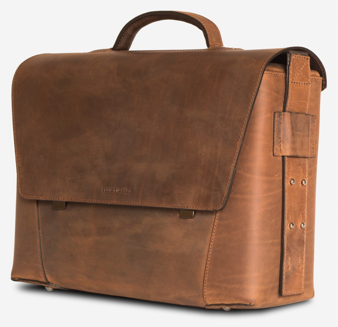 Side view of the large vegetable-tanned brown leather briefcase bag with laptop pocket.