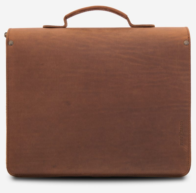 Back view of the brown leather briefcase with the Ruitertassen logo.
