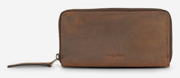 Front view of the long brown vegetable-tanned leather wallet.