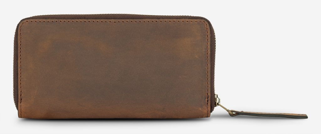 Back of the long brown vegetable-tanned leather wallet.