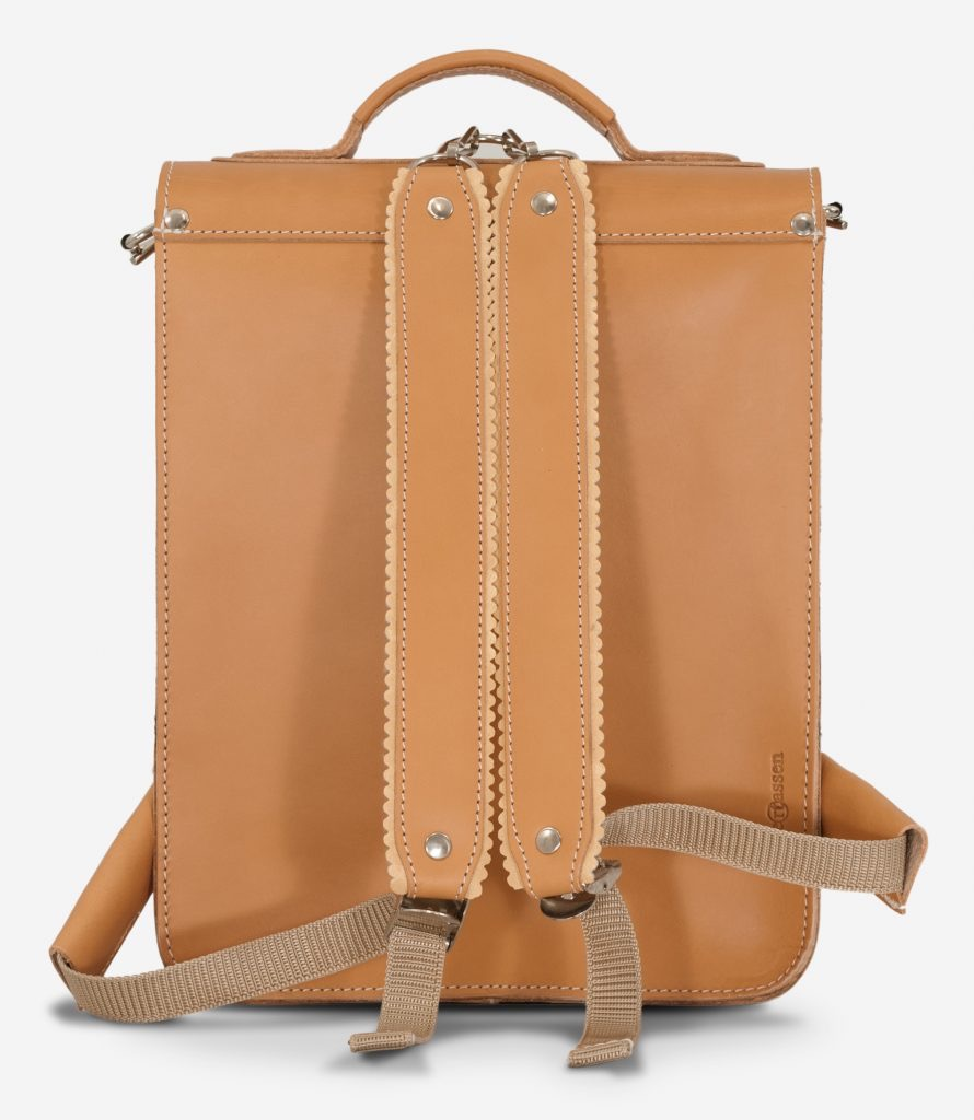 Back of the vegetable tanned leather backpack with shoulder straps.