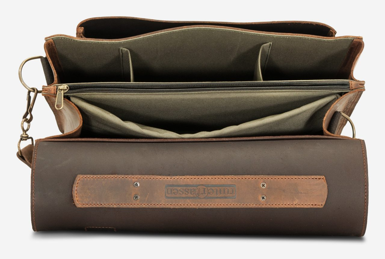Inside view of the vegetable-tanned brown leather satchel briefcase for doctors.