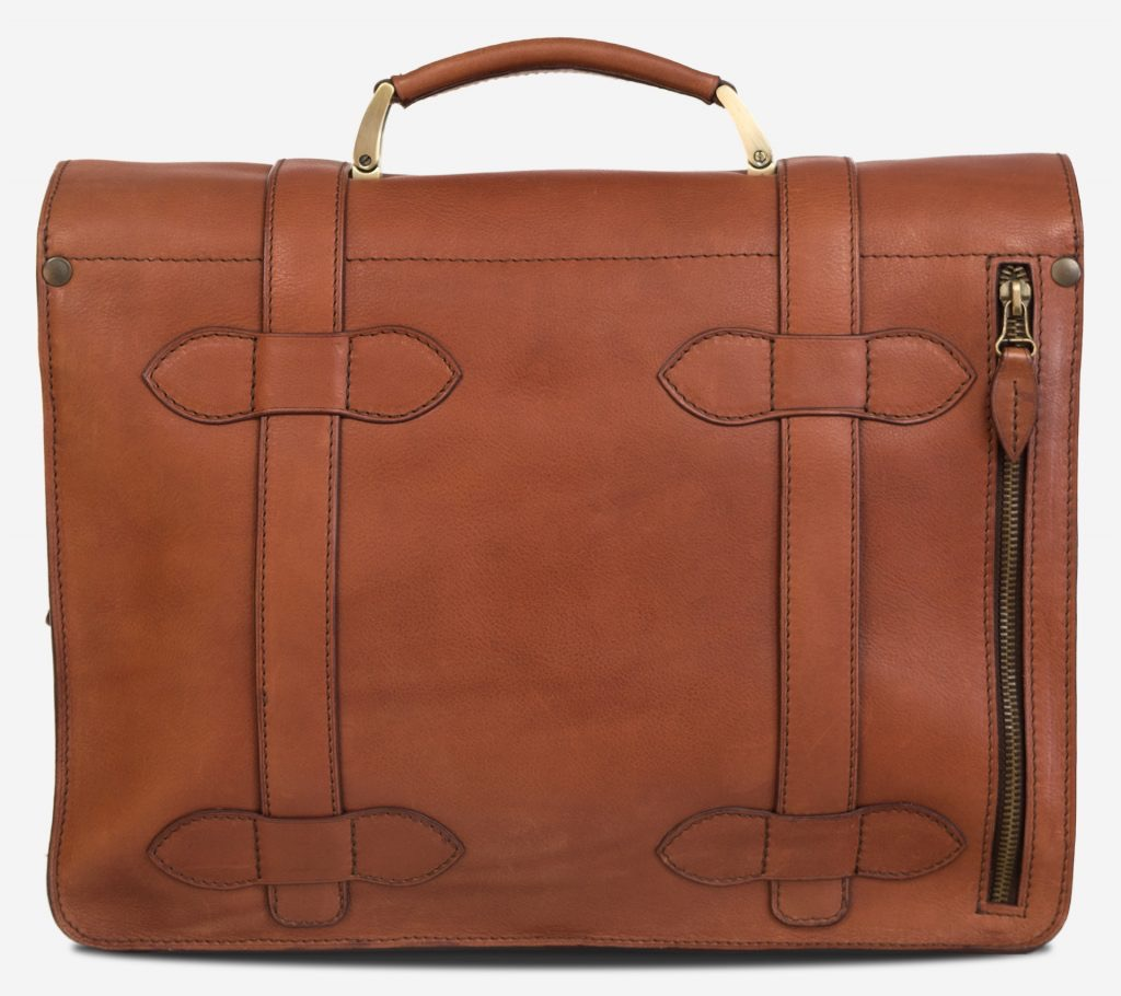 Back view of the handmade brown vegetable-tanned leather briefcase for men with back pocket.