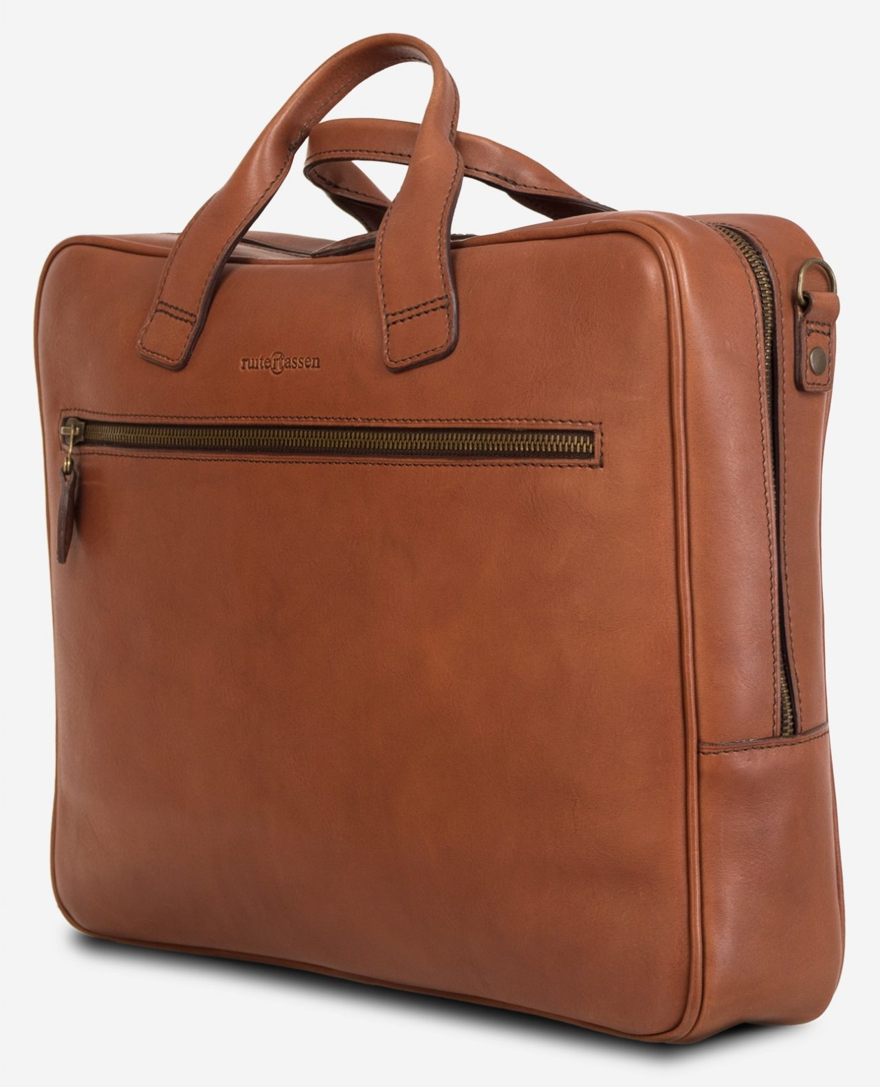 Side view of the luxury brown vegetable-tanned leather briefcase for men.
