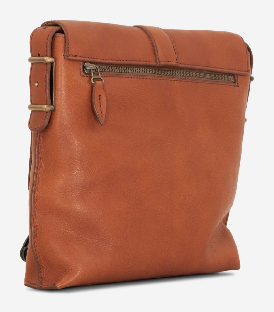 Back view of the luxury soft vegetable-tanned brown leather crossbody bag for men.