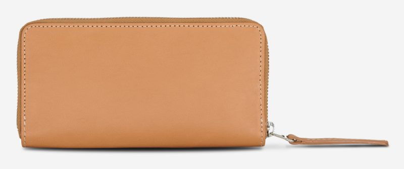 Back of the vegetable tanned leather wallet for women.