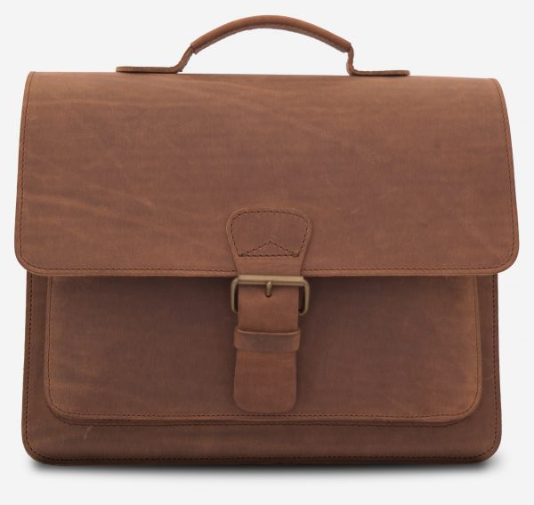 Front view of the full grain brown leather briefcase.