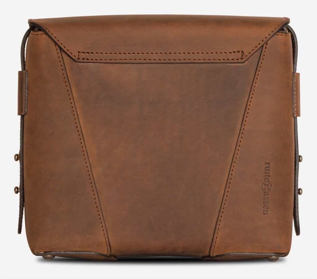 Back view of the small vegetable-tanned brown leather crossbody bag for men.