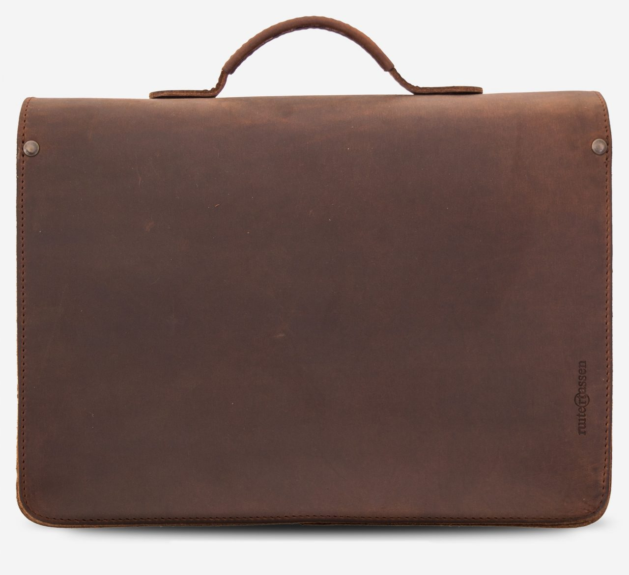 Back view of the brown leather satchel for professor with Ruitertassen logo.