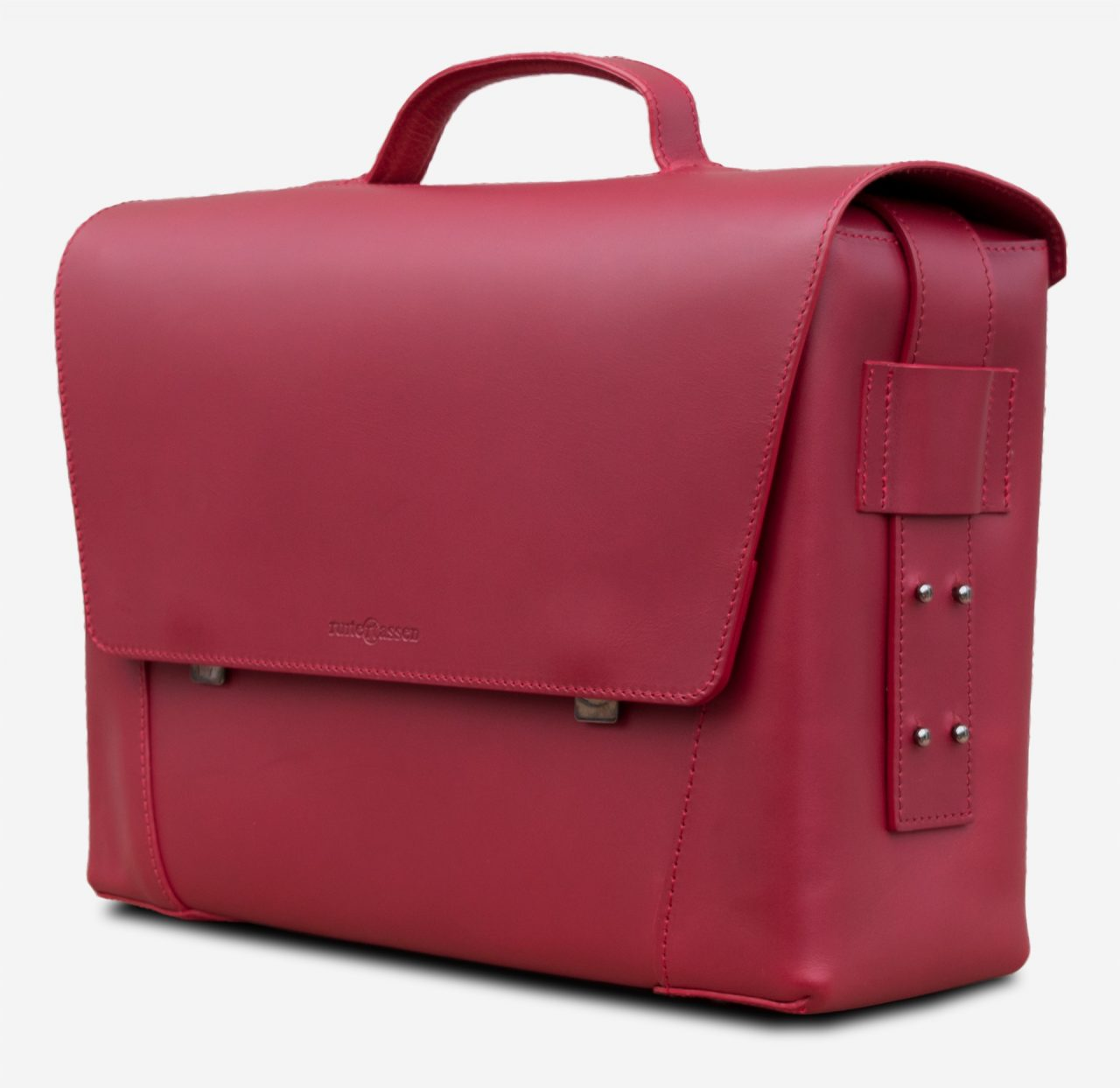 Side view of the large red vegetable-tanned leather briefcase bag with laptop pocket for women.