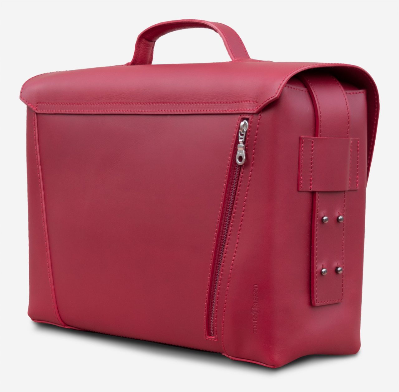 Back view of the large red vegetable-tanned leather briefcase bag with back pocket for women.