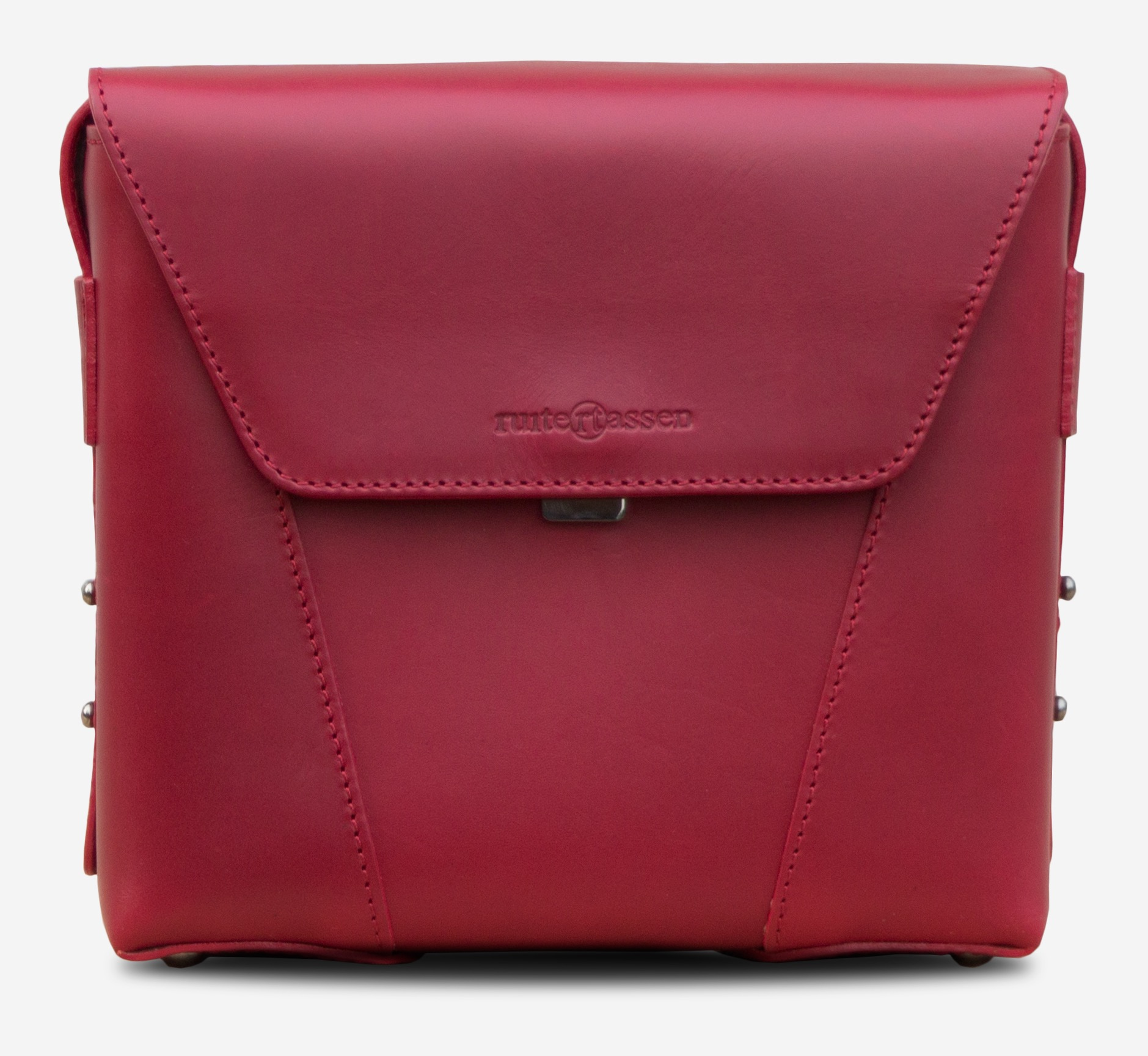 d90748df1c3b Front view of the small red vegetable-tanned leather crossbody bag for  women.